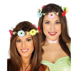 Corona de Flores Multicolor y Luz