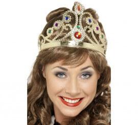 Corona de Reina con Joyas Dorada