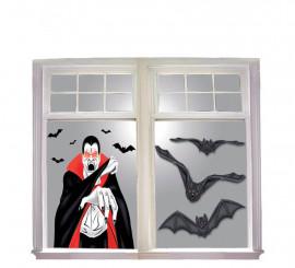 Decoración para ventana de Vampiro de 100x76 cm con luz
