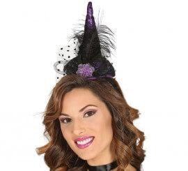 Diadema con Sombrero de Bruja Lila