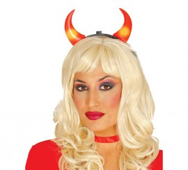Diadema cuernos de Diablesa con luz Halloween