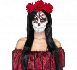 Diadema del Día de Muertos con rosas rojas