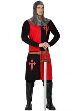 Disfraz Caballero Medieval rojo y negro de hombre