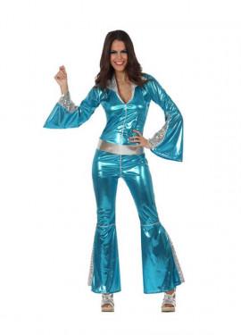 Disfraz Chica Disco mono azul para mujer