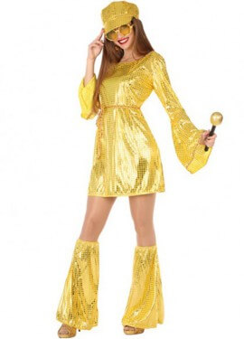 Disfraz Chica Disco vestido dorado para mujer
