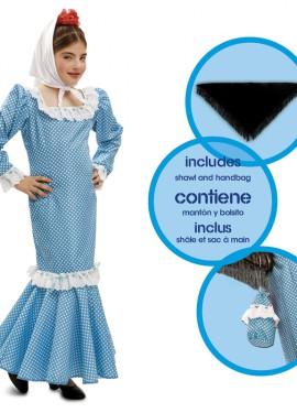 Disfraz chulapa o madrileña azul para niñas