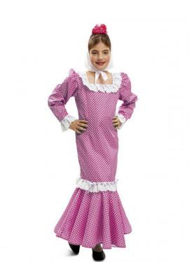 Disfraz chulapa o madrileña rosa para niñas