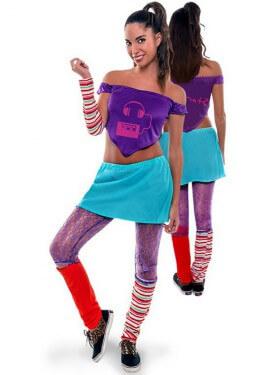 Disfraz de Aerobic ochentero lila para mujer