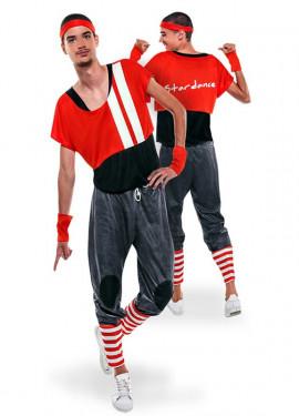 Disfraz de Aerobic ochentero rojo para hombre