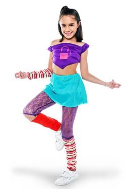 Disfraz de Aerobic ochentero lila para niña