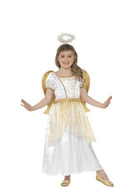 Disfraz de Ángel Blanco y Dorado para niña