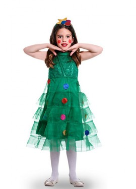 Disfraz de Arbol Navideño Tules para niña