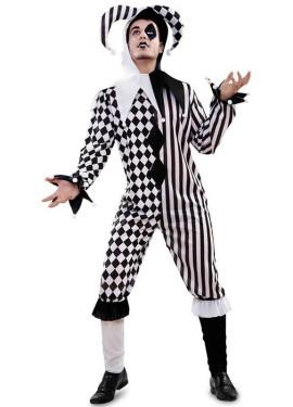 Disfraz de Arlequín blanco y negro para hombre