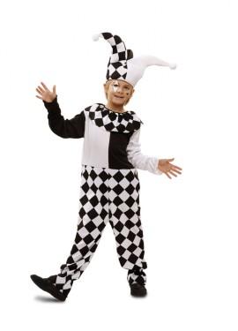 Disfraz de Arlequín blanco y negro para niño