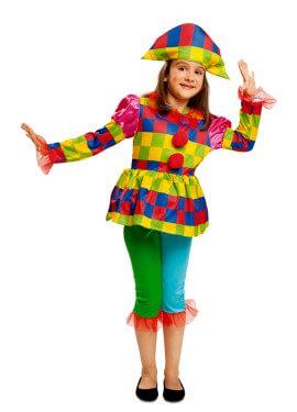 Disfraz de Arlequín multicolor para niña