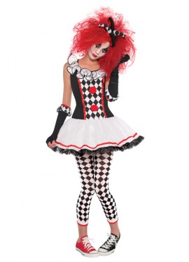 Déguisement d'Arlequin Démente pour enfants et adolescentes Halloween