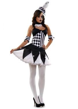 Disfraz de Arlequina blanco y negro para mujer