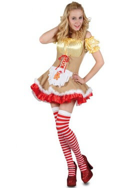 Disfraz de Ayudante de Santa Claus Dorado para mujer