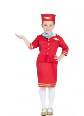 Disfraz de Azafata de Vuelo Roja para niña