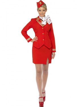 Déguisement Hôtesse de l'air rouge Sexy pour Femme plusieurs tailles