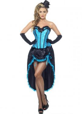 Déguisement de Danseuse Cabaret Bleue pour Femme plusieurs tailles