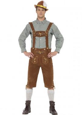 Disfraz de Bávaro Tradicional Marrón con Lederhosen para hombre