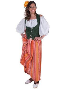 Disfraz de Bodeguera medieval para mujer