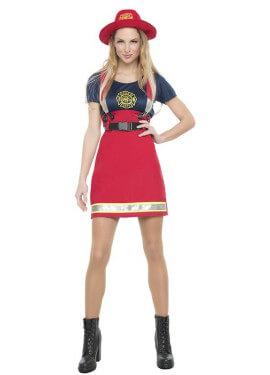 Disfraz de Bombera Americana para mujer