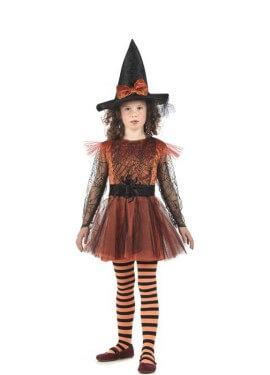 Disfraz de Bruja Elfrida con telarañas para niña