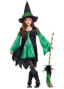 Disfraz de Bruja Esmeralda verde para niña