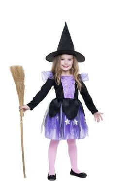 Disfraz de Bruja estrellas para niña
