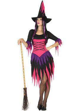 Disfraz de Bruja Fucsia con Flecos para mujer