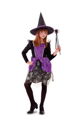 Disfraz de Bruja lila con telarañas para niña