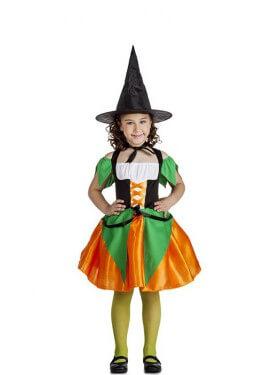 Disfraz de Bruja naranja y verde para niña