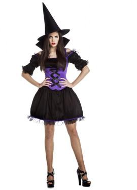 Costume da strega nero e lilla per una donna