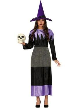 Disfraz de Bruja Negra y Morada para mujer
