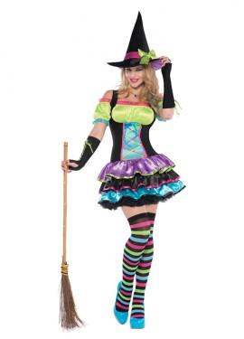 Disfraz de Bruja neón para mujer para Halloween