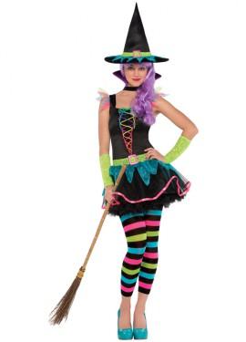 Disfraz de Bruja neón para niñas y adolescentes Halloween