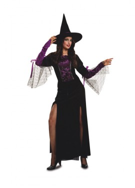 Disfraz de Bruja púrpura para mujer talla M-L para Halloween