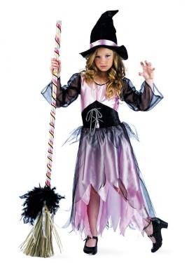Disfraz de Bruja Rosa Deluxe para niña