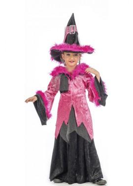Disfraz de Bruja Rosa para niña