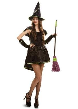 Disfraz de Bruja verde para mujer talla M-L para Halloween