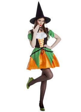 Disfraz de Bruja verde y naranja para mujer