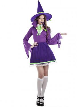 Disfraz de Bruja violeta para mujer