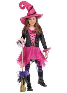 Disfraz de Brujita fucsia para niña