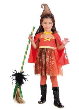 Disfraz de Brujita naranja con telarañas para niña