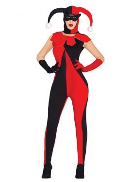 Disfraz de Bufona rojo y negro para mujer