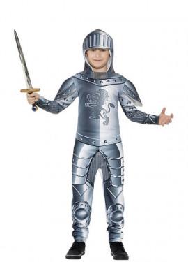Disfraz de Caballero con Armadura de lujo gris para niño