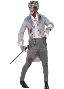 Disfraz de caballero inglés de época Zombie
