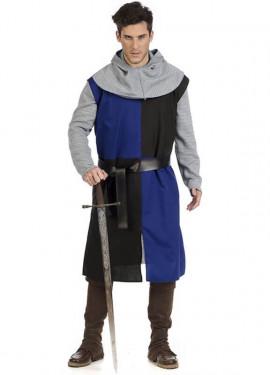 Disfraz de Caballero Medieval Azul y Negro para hombre
